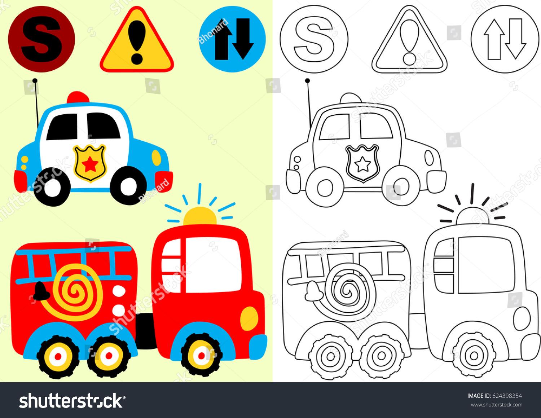 vector cartoon fire engine police car stock vector 624398354