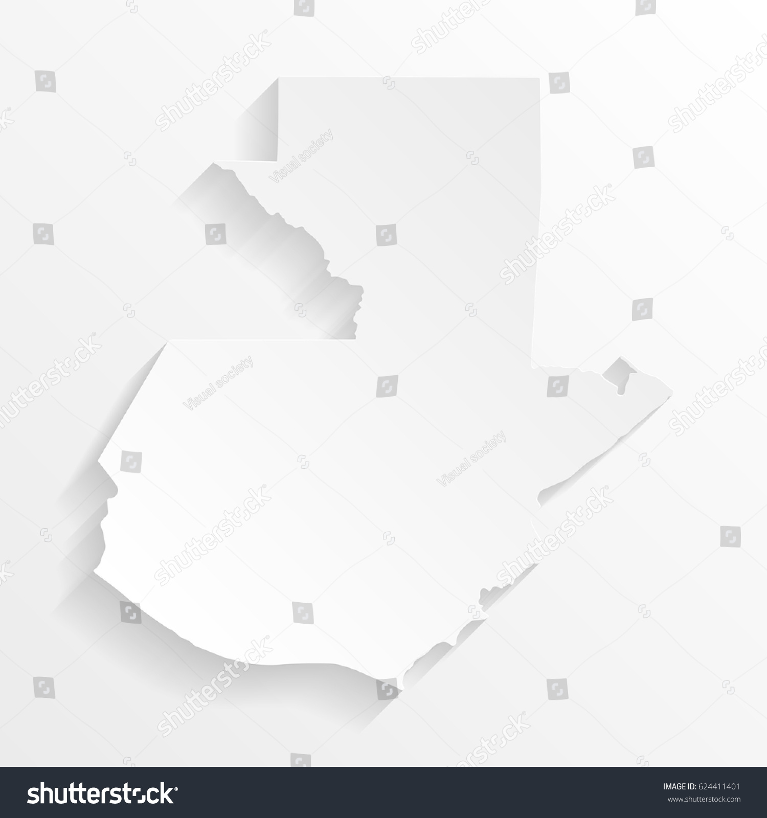 guatemala map shadow cut paper isolated stock vector