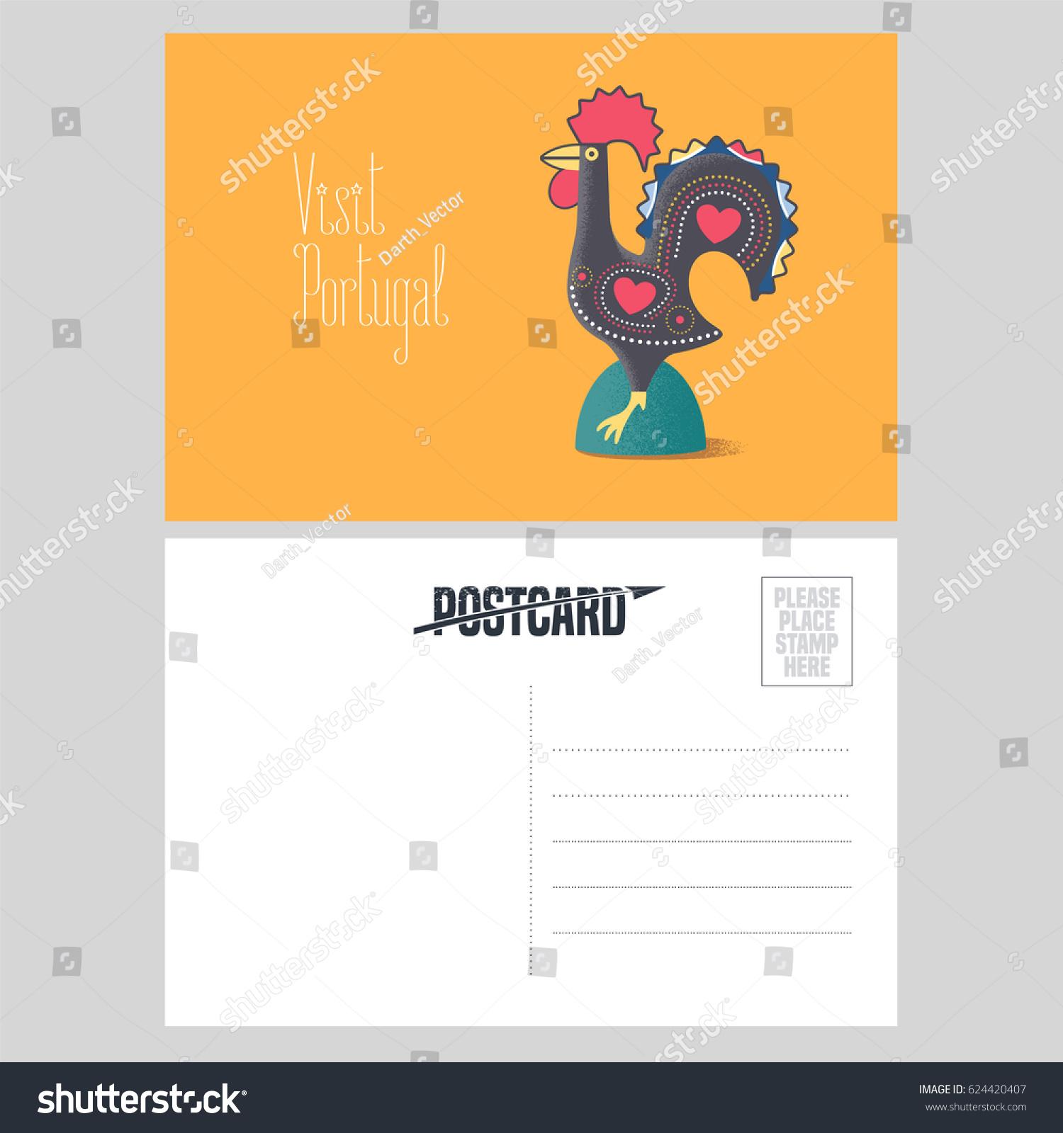 Postcard Portugal Vector Illustration Barcelos Rooster Stock Vector