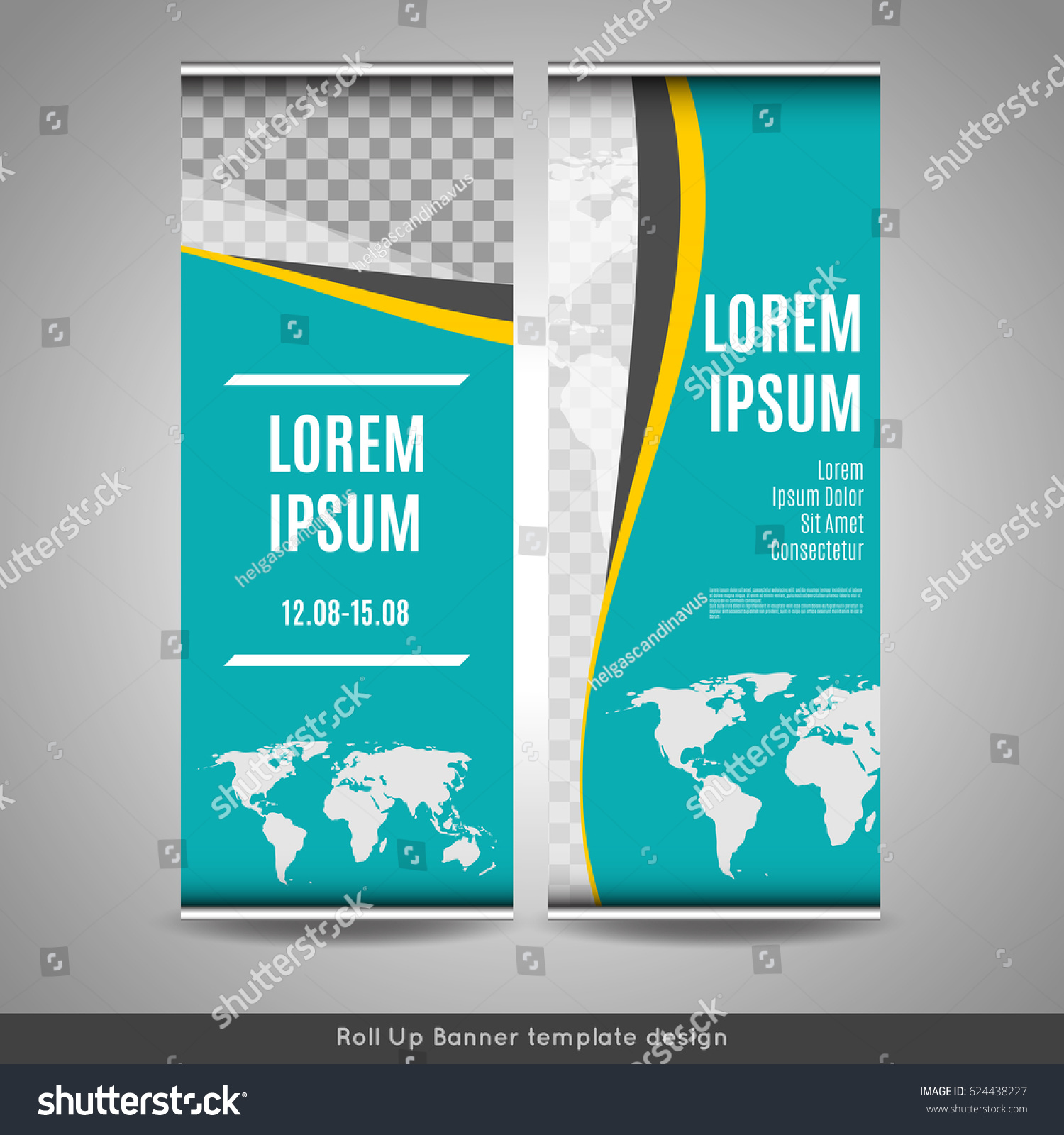 Roll Banner Template Design World Map Stock Vector (Royalty Free