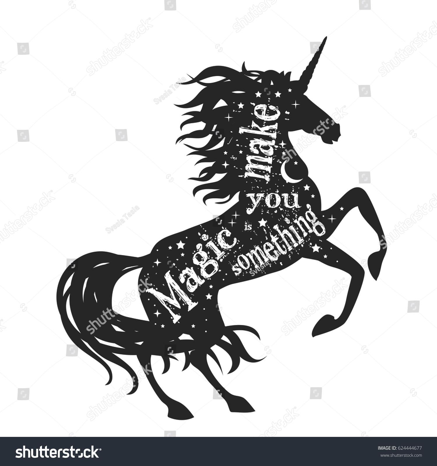 magic unicorn silhouette quote magic something stock