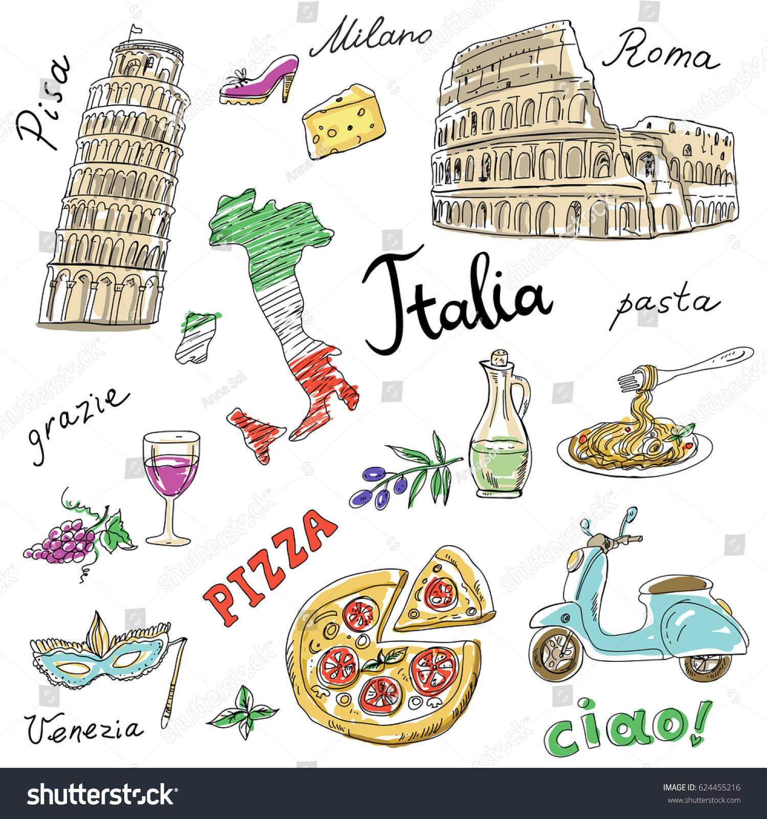 Set Italy Symbolslandmarkstravel Icons Hand Drawn Set Stock Vector