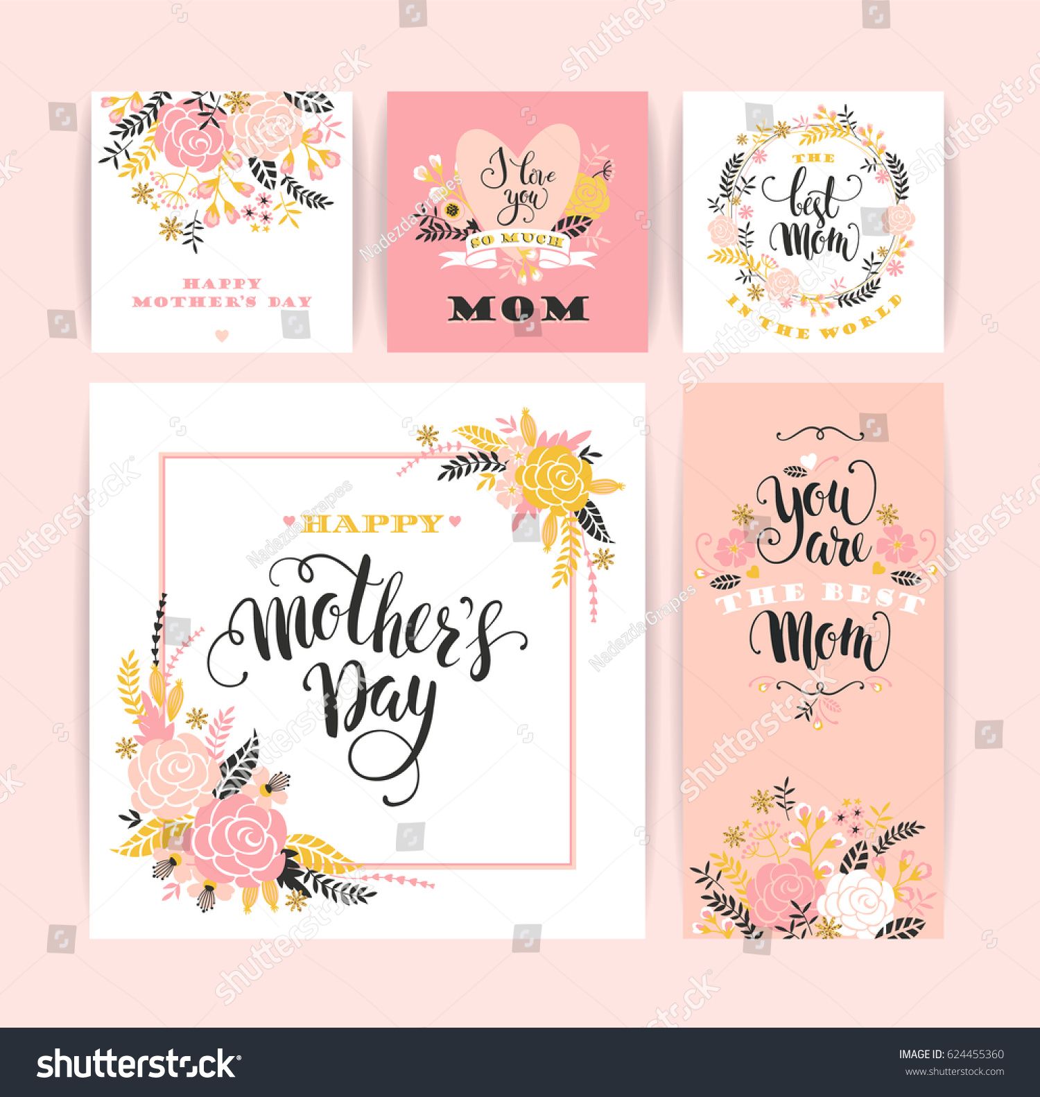 Set Of Happy Mothers Day Lettering Greeting Cards With Flowers Vector Illustration