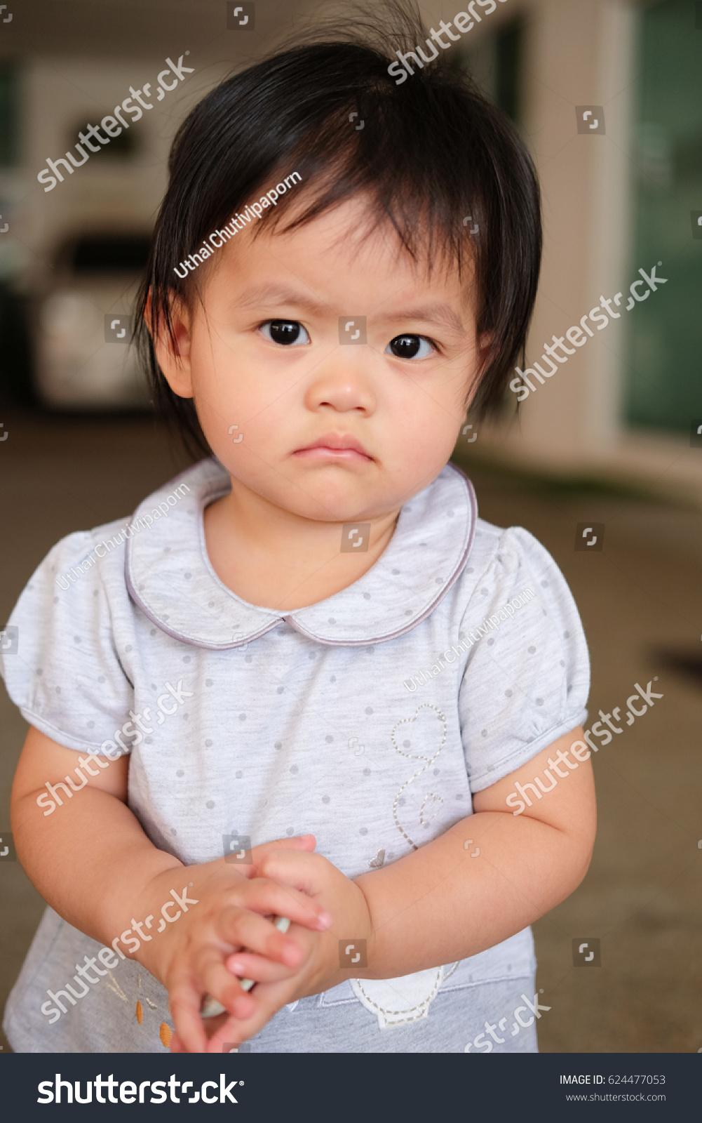 cute baby girl closeup portrait portrait stock photo (edit now