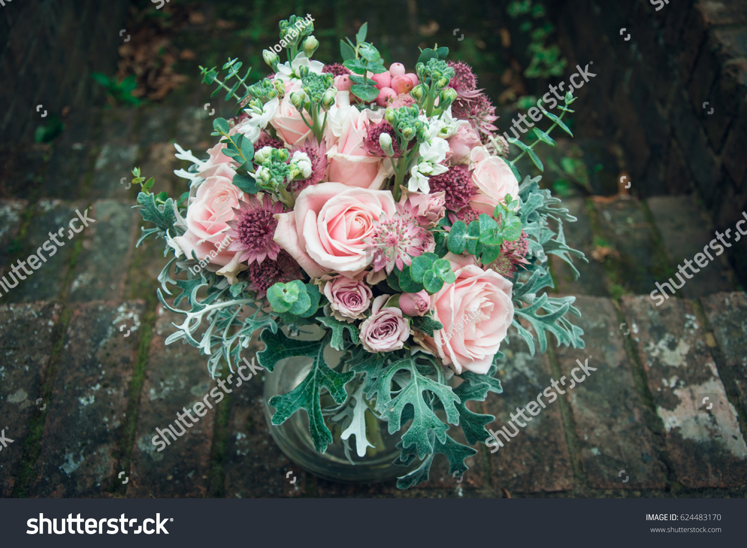 Amazing Bohemian Bouquet Pink Spring Flowers Stock Photo Edit Now 624483170