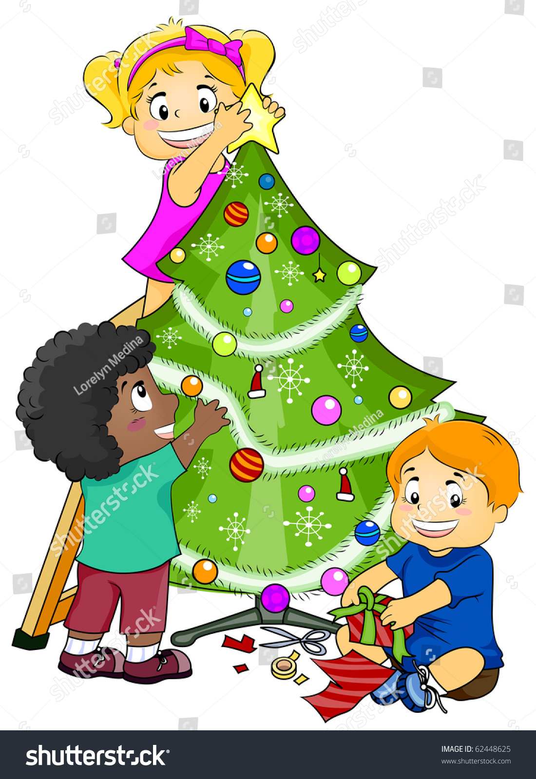 illustration featuring kids decorating a christmas tree vector - Kids Decorating For Christmas