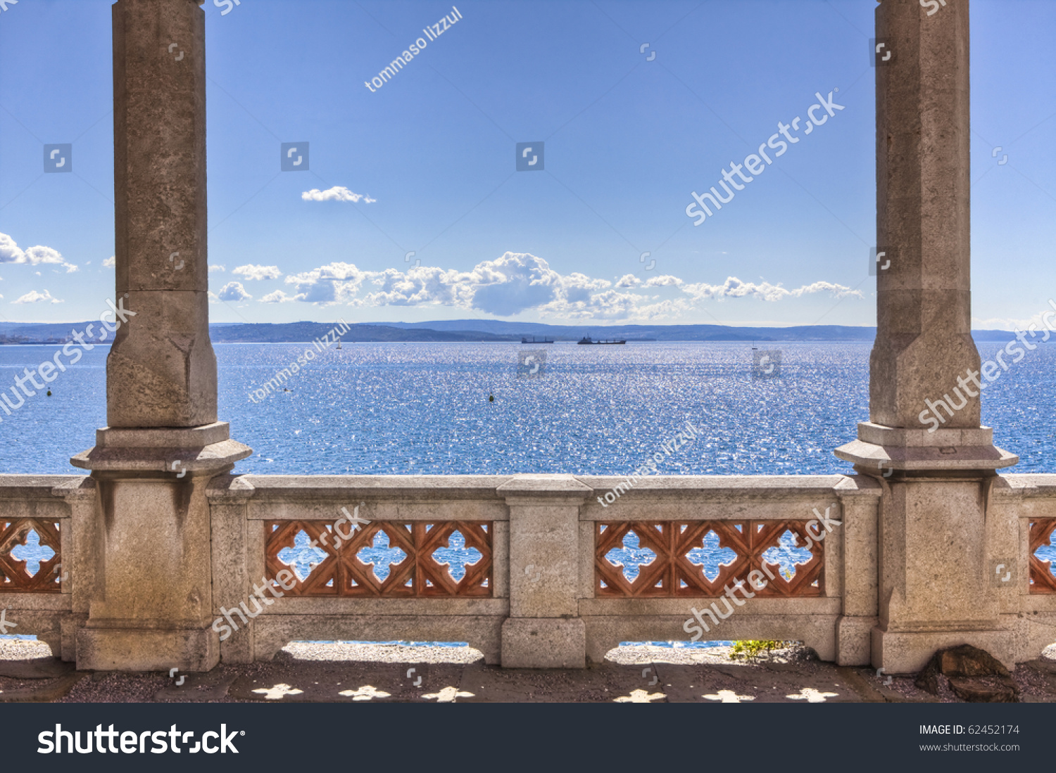 Balcony on sea miramare castle trieste stock photo for Balcony in italian