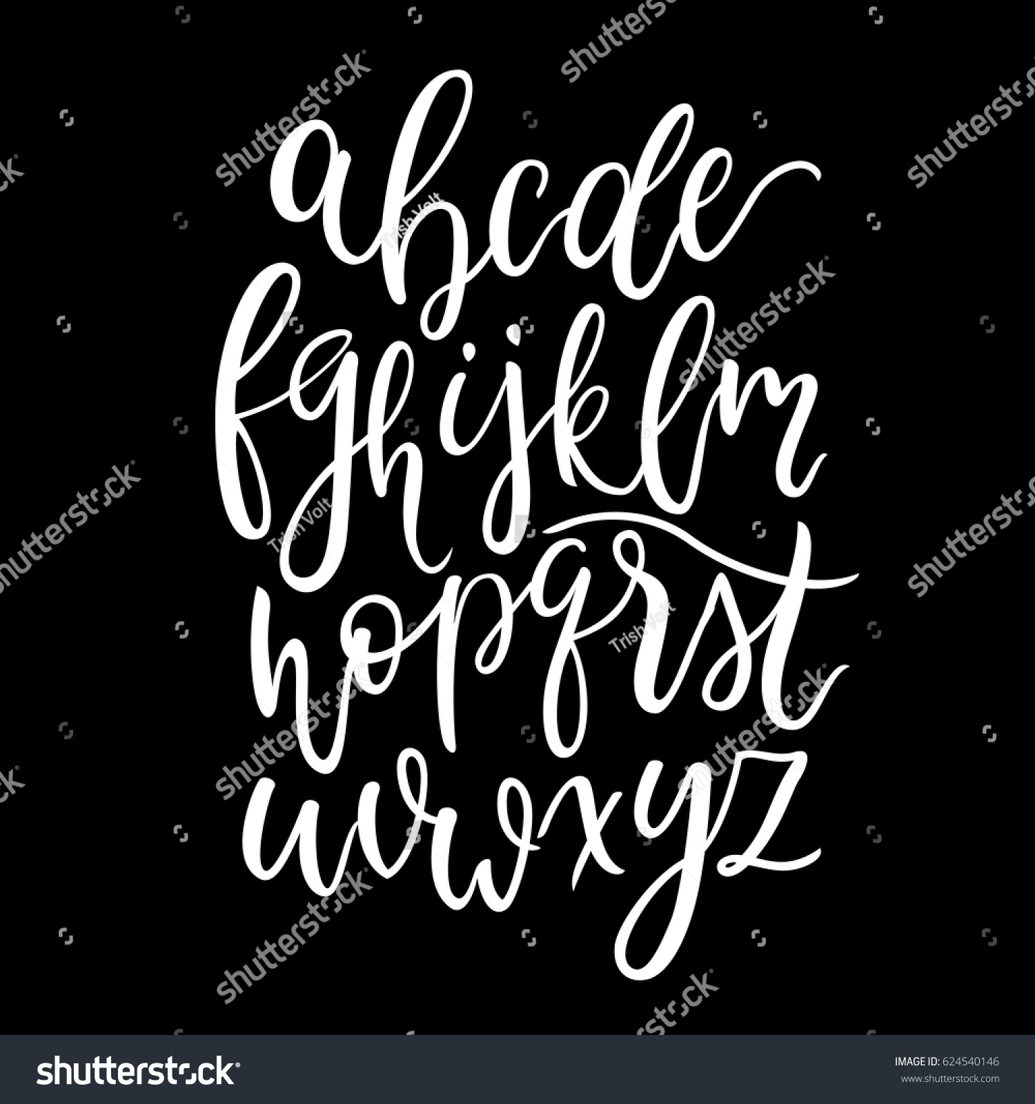 Modern Calligraphy Lowercase Alphabet English Latin Stock