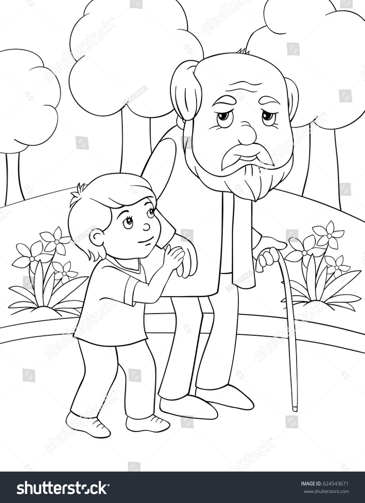 Children Coloring Page Boy Helps Old Stock Vector 624543671 ...