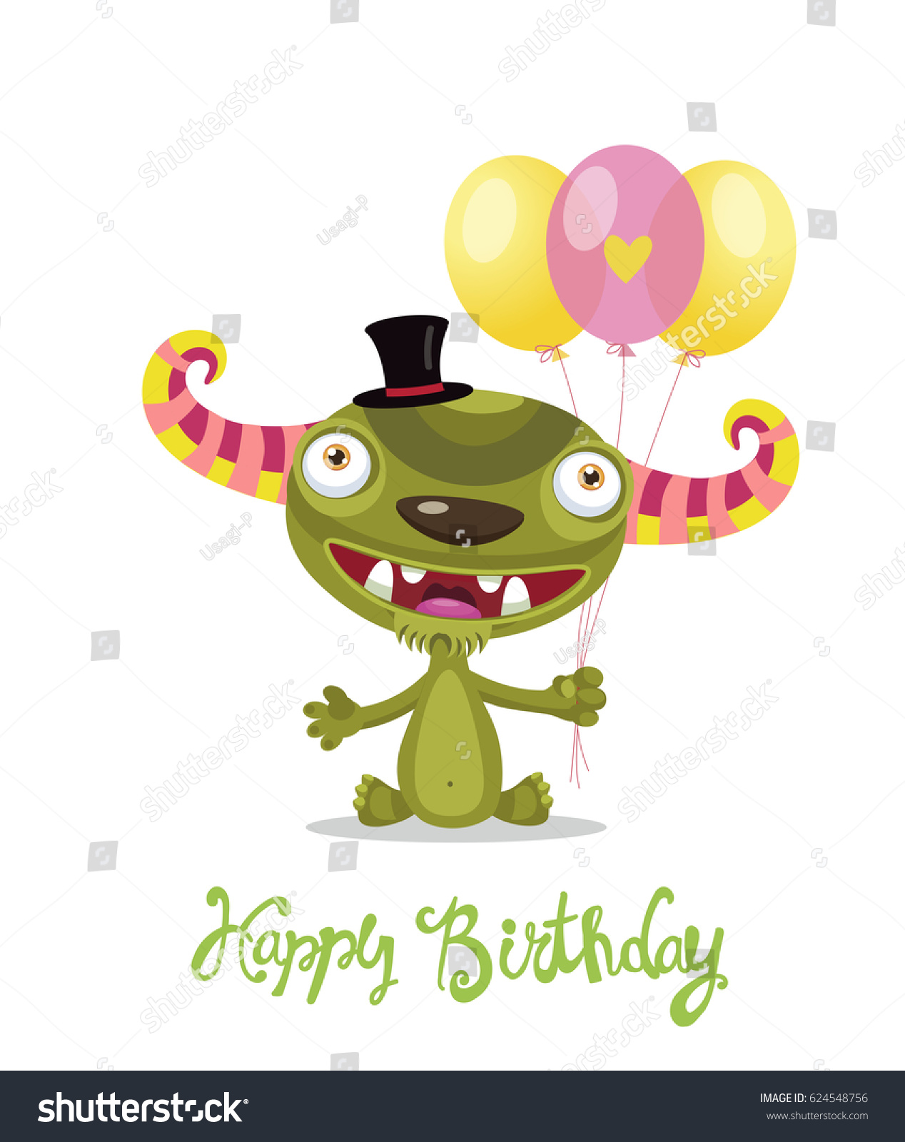 Cute monster color balloons vector cartoon stock vector 624548756 cute monster with color balloons vector cartoon monster vector illustration funny birthday greeting card kristyandbryce Images