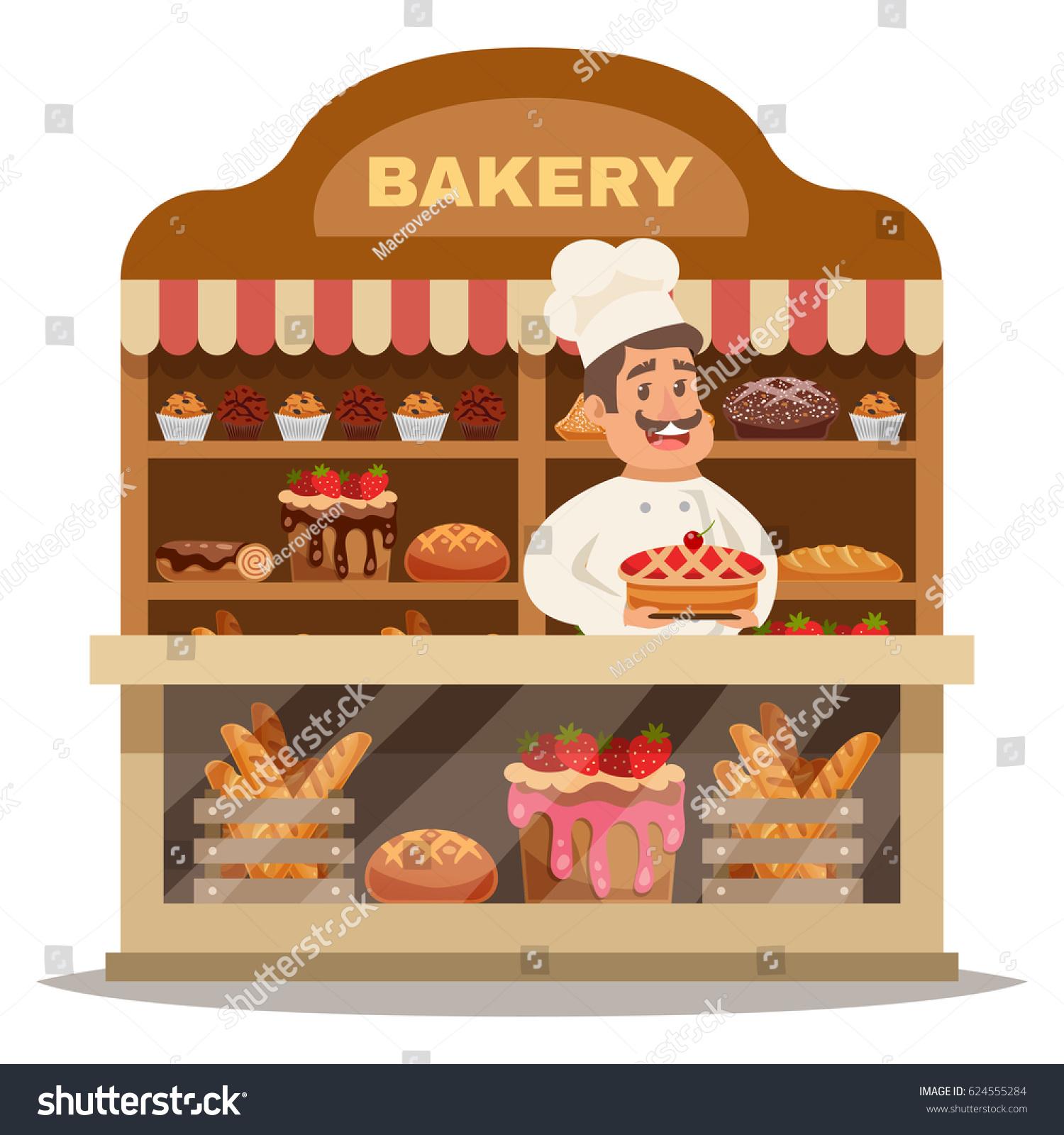 Retro Bakery Logo Concept:  Bakery Shop Design Concept Chef Hat Stock Vector 624555284