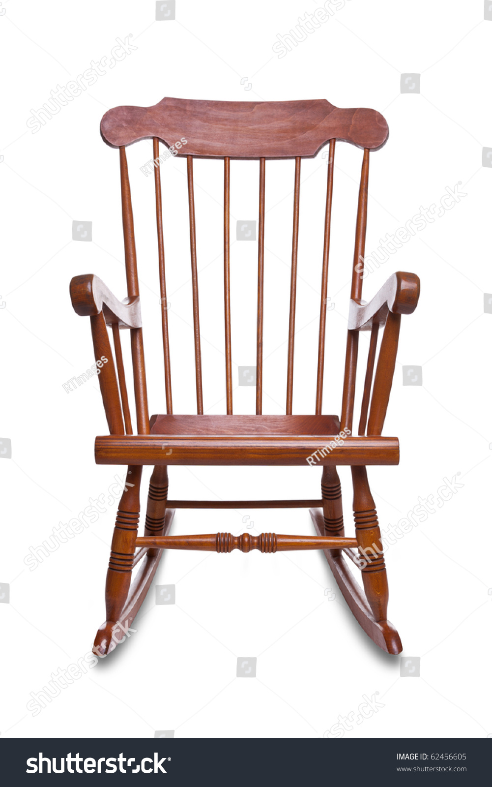 Wooden Rocking Chair Isolated On A White Background With