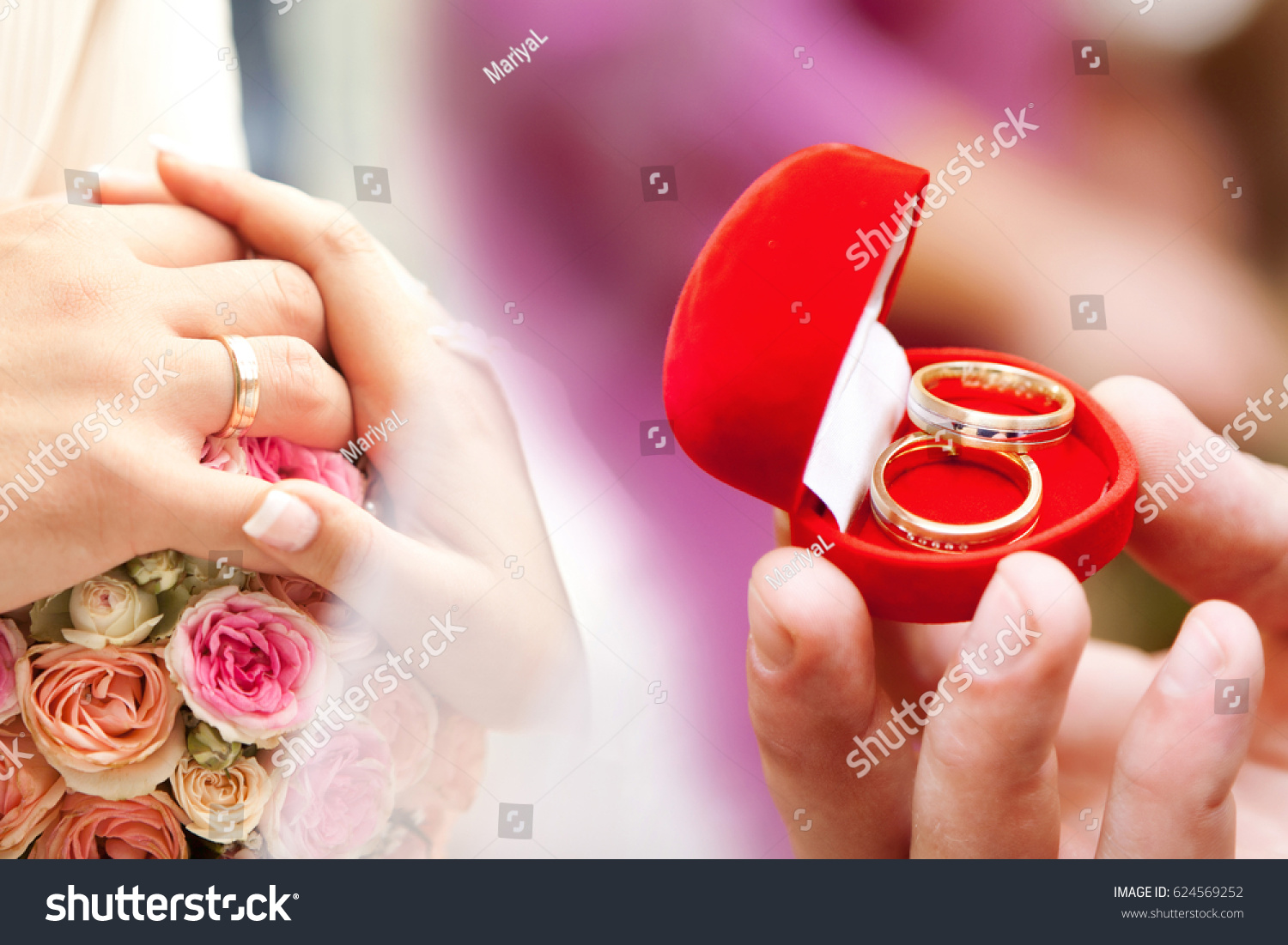 Wedding Background Hands Golden Rings Red Stock Photo (100% Legal ...