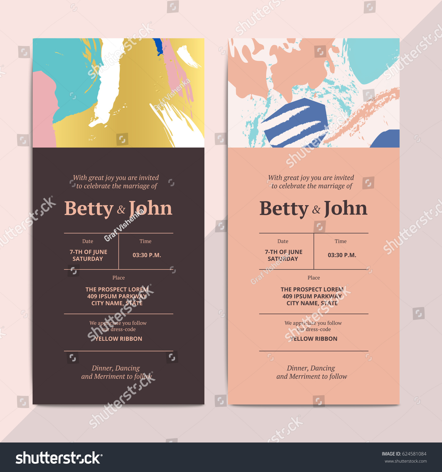 Trendy abstract wedding invitation cards templates stock vector trendy abstract wedding invitation cards templates modern luxury romantic greeting cards layout with artistic brush stopboris Choice Image