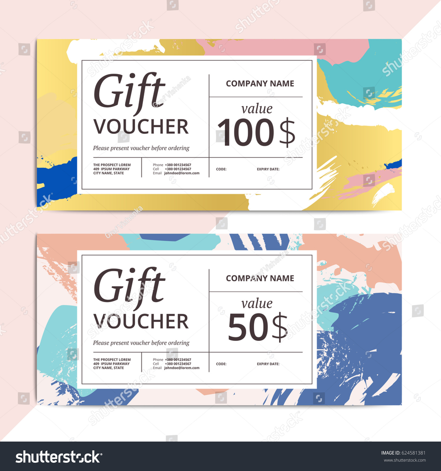 Trendy Abstract Gift Voucher Card Templates Stock Vector Royalty