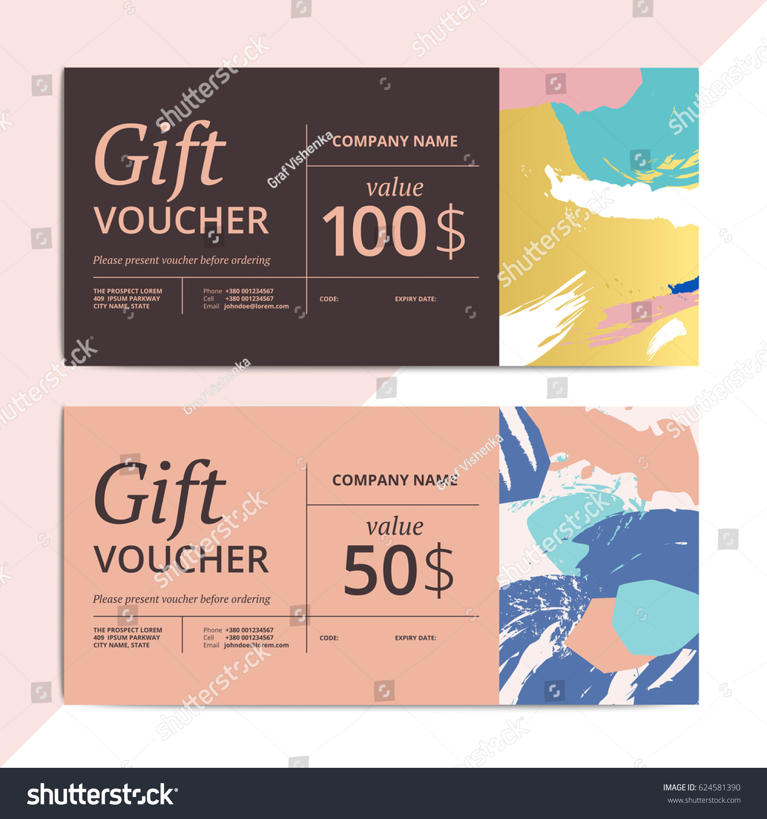 trendy abstract gift voucher card templates のベクター画像素材