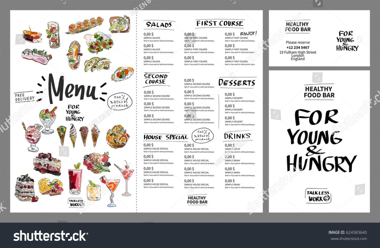 Restaurant Cafe Menu, Template Design. Watercolor Hand Drawn. Vector  Illustration.
