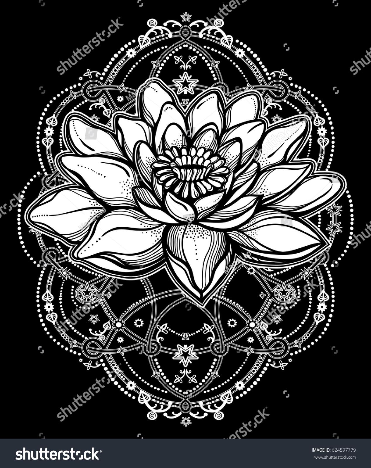Hand Drawn Beautiful Boho Lotus Flower Stock Vector Royalty Free