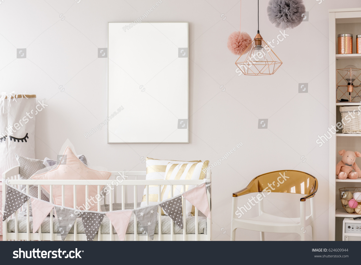 Uncategorized Scandinavian Crib scandinavian baby room white crib chair stock photo 624609944 with bookshelf wall poster