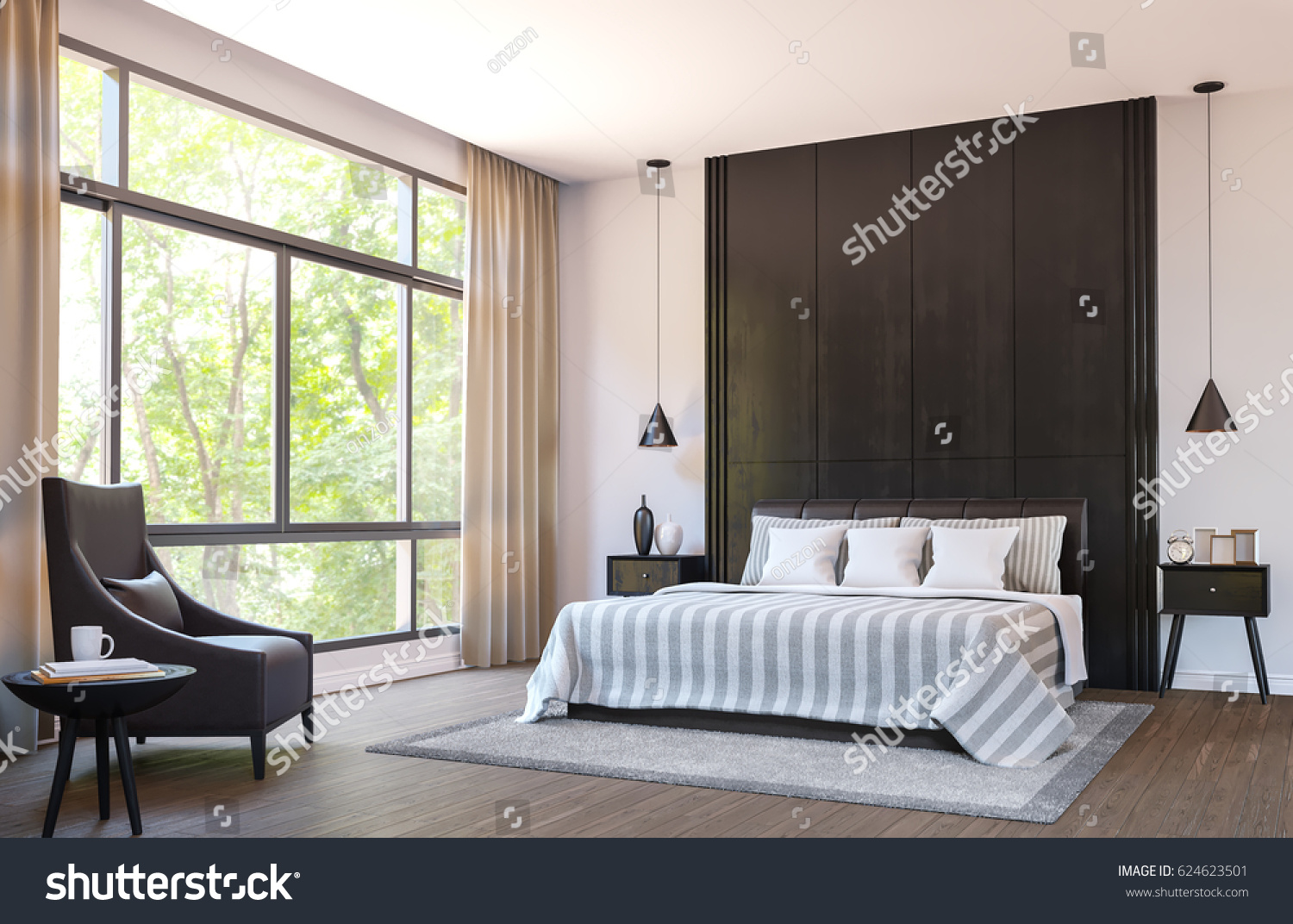 Modern bedroom decorate with brown leather furniture and black wood 3d  rendering image There are. Modern Bedroom Decorate Brown Leather Furniture Stock Illustration