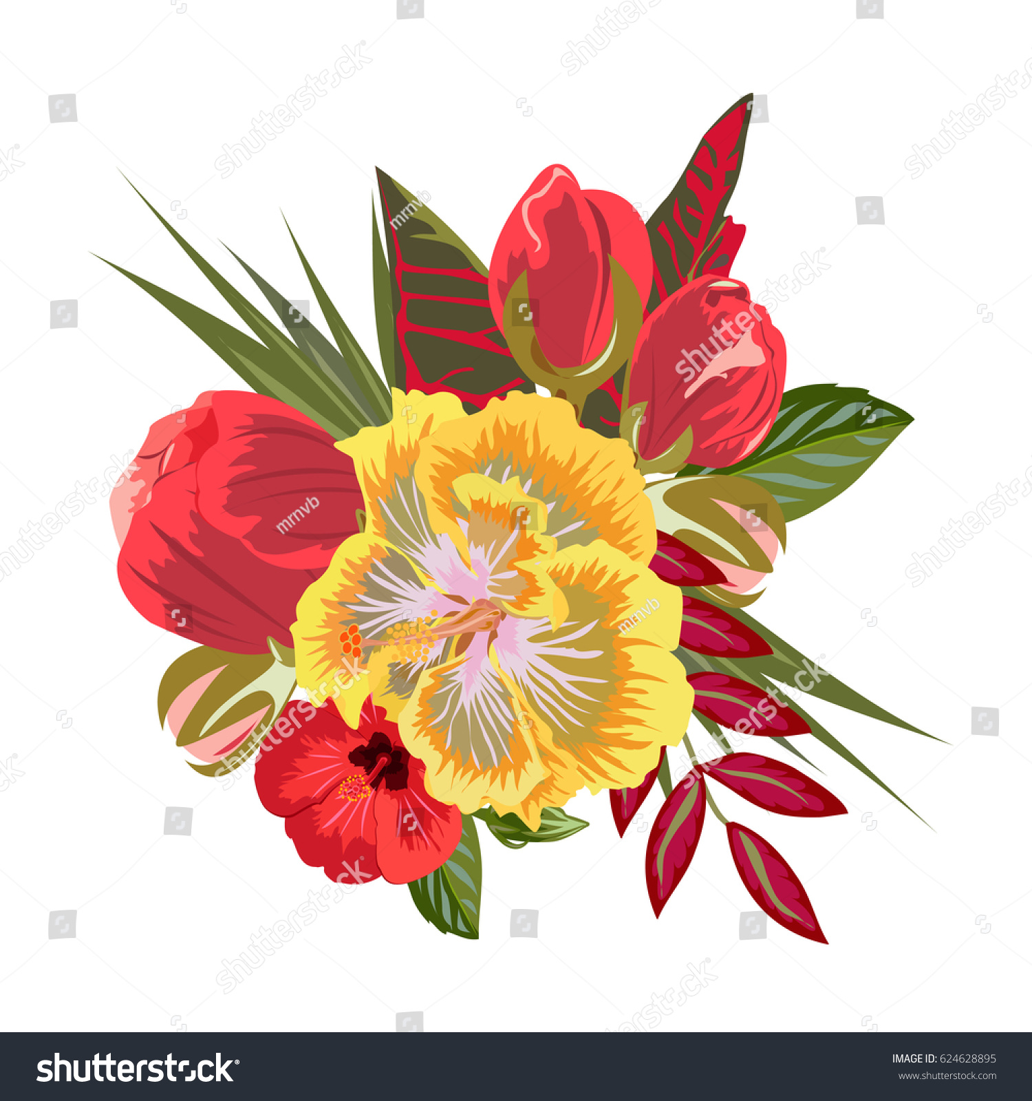 Bouquet Hibiscus Red Buds Exotic Leaves Stock Vector 624628895 ...