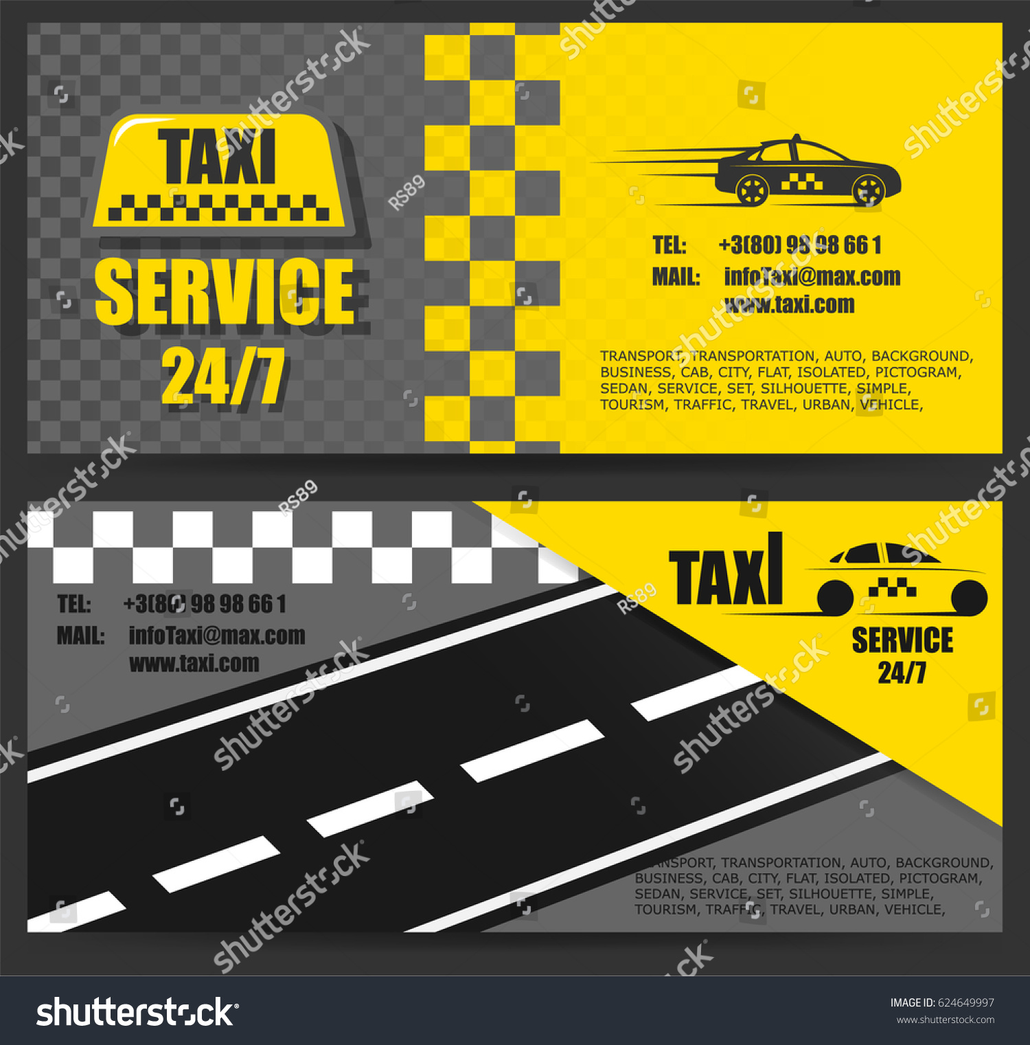 Taxi Business Card Work Taxi Around Stock Vector 624649997 ...