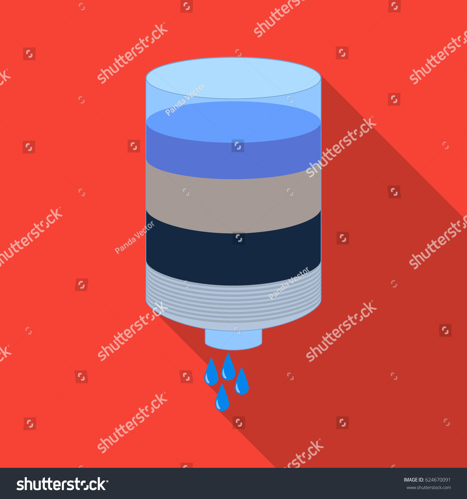 Water Filter Cartridge Icon Flate Style Stock Vector Royalty Free