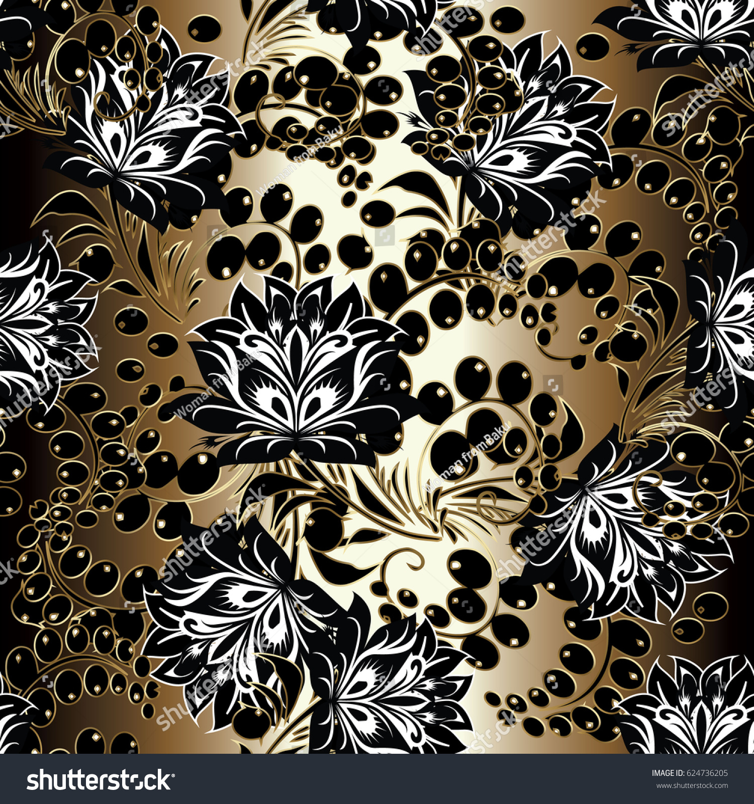 Floral Seamless Pattern Gold Background Wallpaper Stock Vector