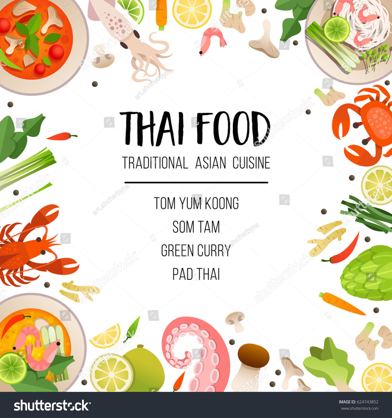 Bright menu template traditional asian cuisine stock for Asian cuisine menu