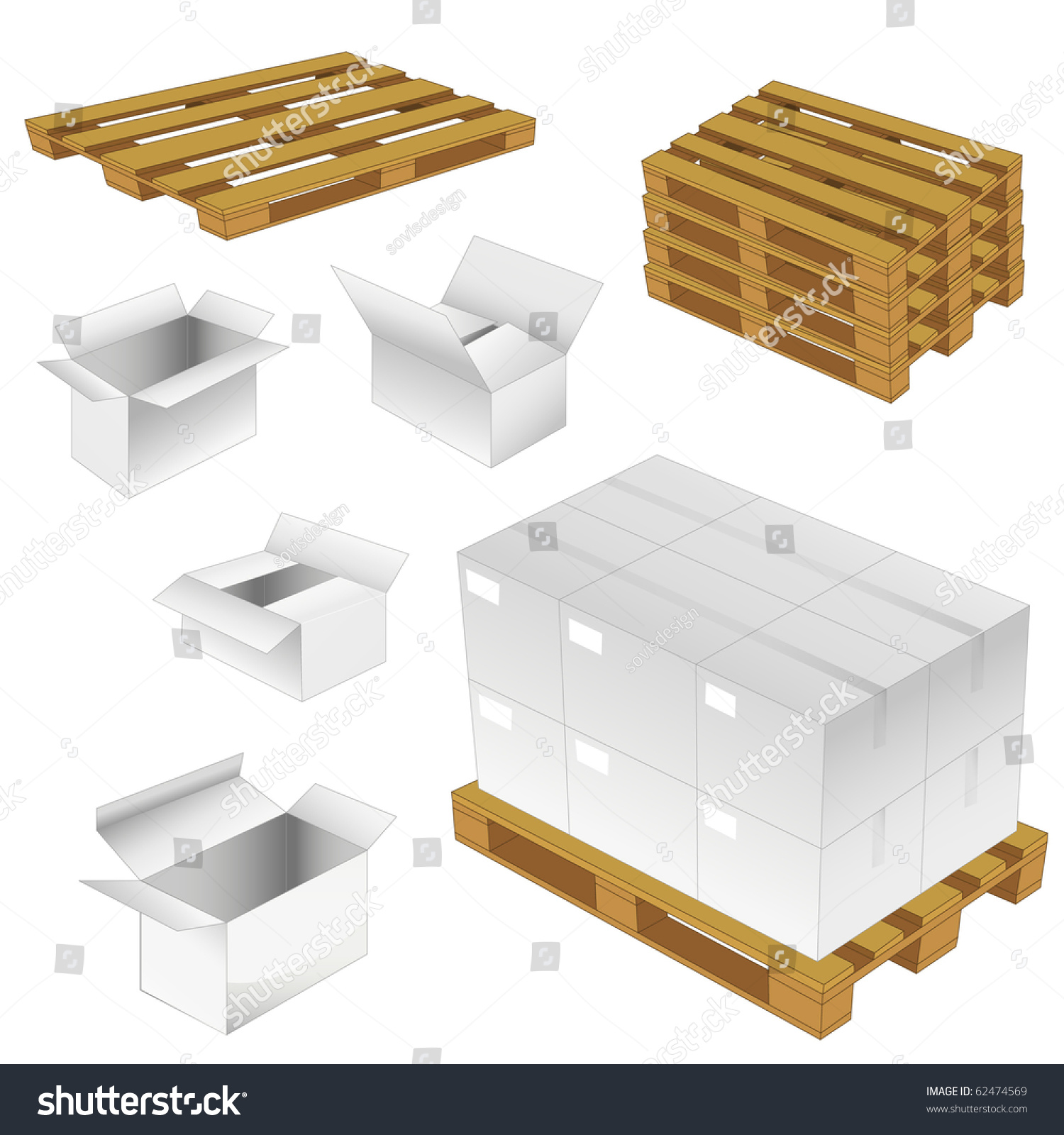Set Of Cardboard Boxes And Wood Pallets. Vector Illustration ...
