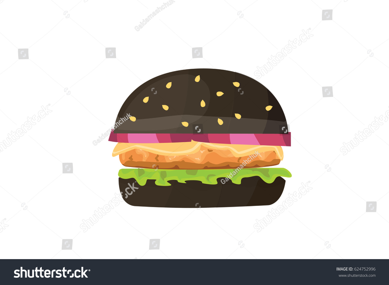 Burger Cartoon Fast Food Illustration Black Stock Vector - Black hamburger