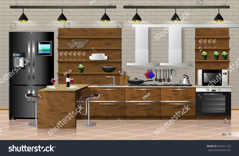 Interior wooden shelves free vector - Modern Interior Of Wooden Kitchen Vector Illustration Household Kitchen Appliances Cabinets Shelves