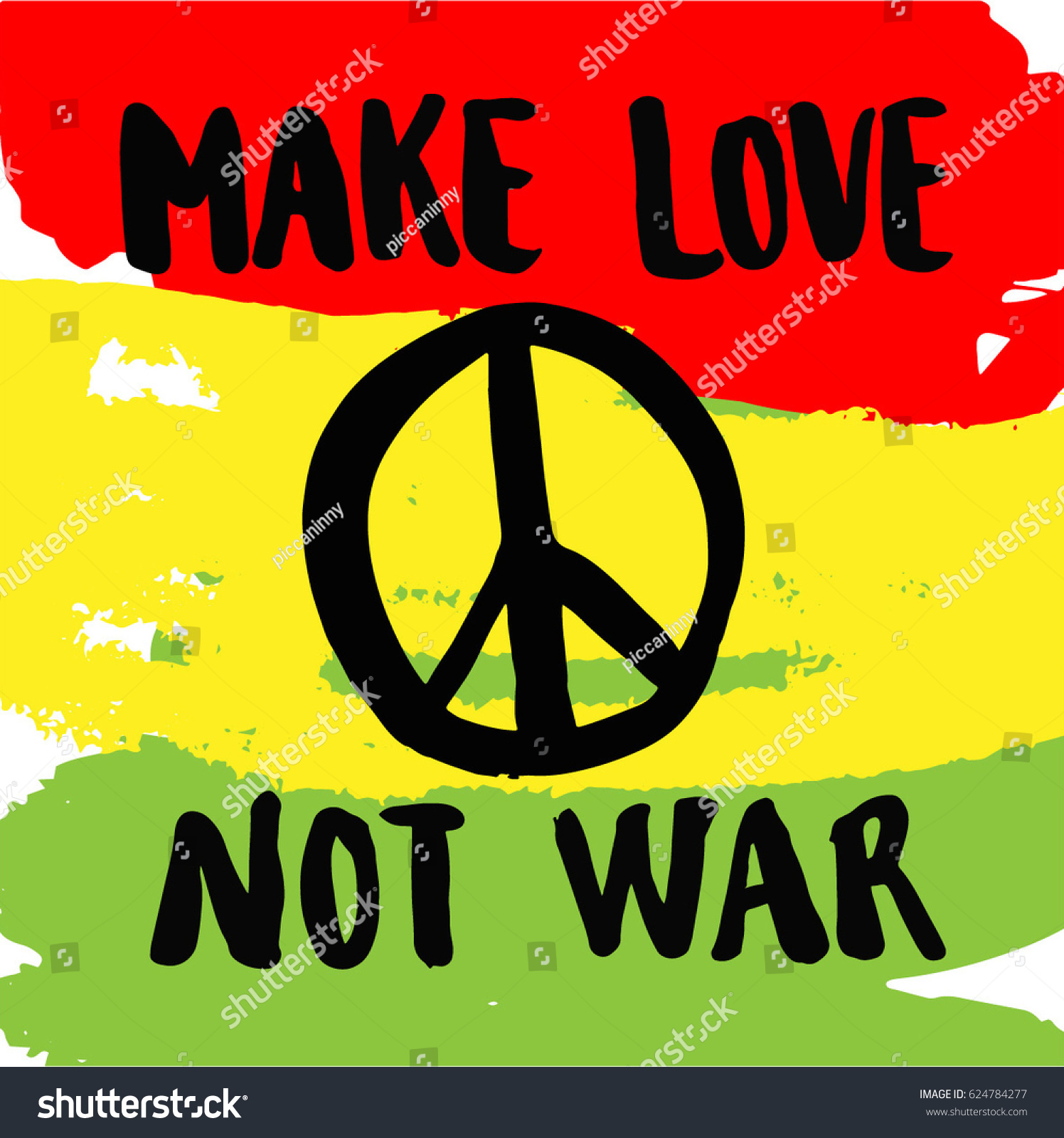 Rasta Love Quotes Make Love Not War Handwriting Colorful Stock Vector 624784277