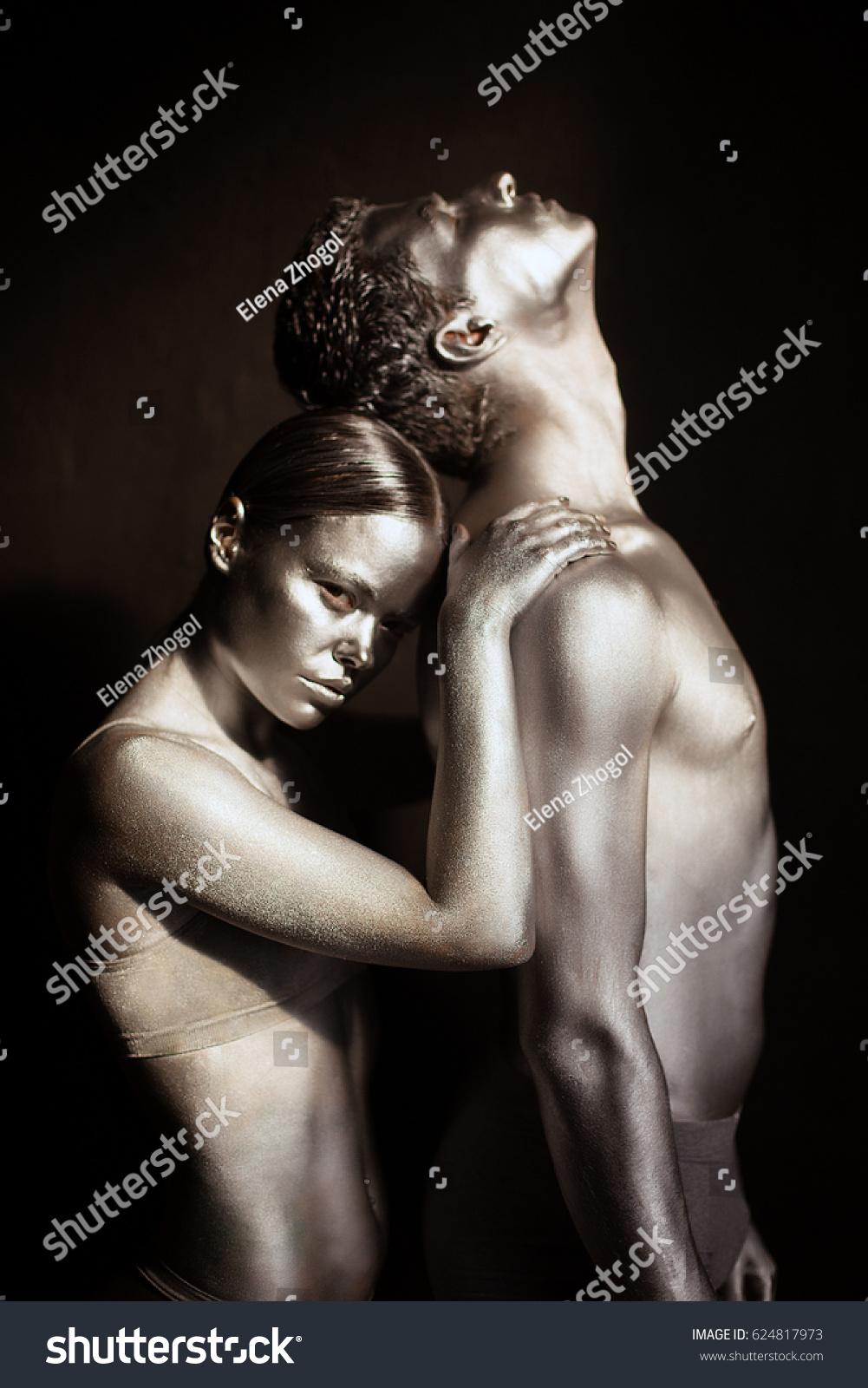 Silver Body Art Man Woman Stock Photo Edit Now 624817973