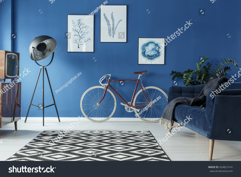 black white patterned carpet trendy blue stock photo 624821414 black and white patterned carpet in trendy blue living room