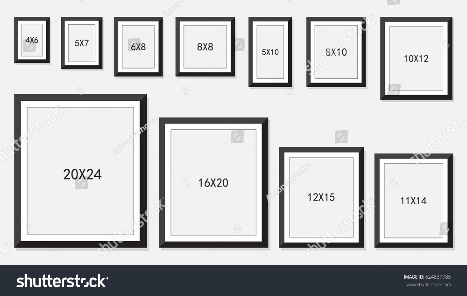 Picture photo frames size stock vector 624837785 shutterstock picture and photo frames size jeuxipadfo Images