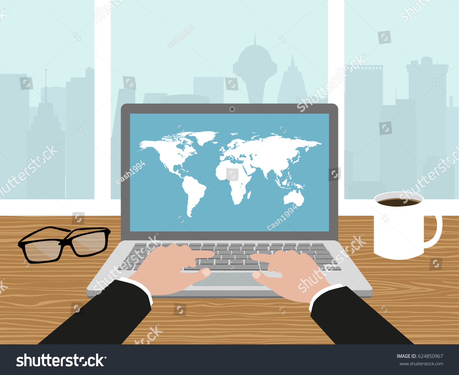Hands on laptop keyboard pushing keys vectores en stock 624850967 hands on laptop keyboard pushing keys coffeeworld map and glasses on the desk gumiabroncs Choice Image