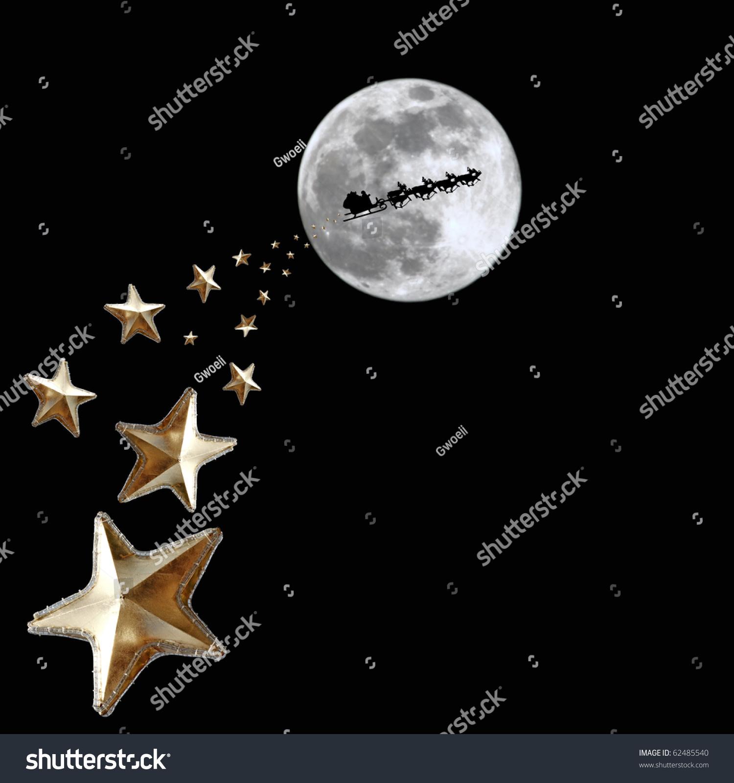 sprinkle stars over path santa claus stock photo 62485540