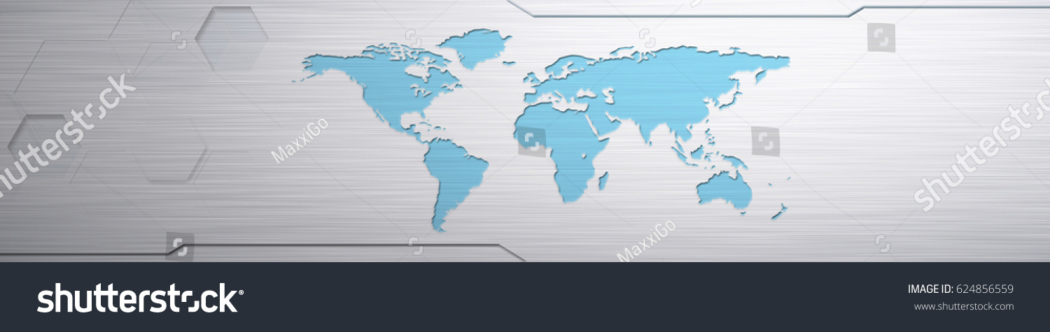 World Map Banner World Map Emboss Stock Illustration Royalty Free