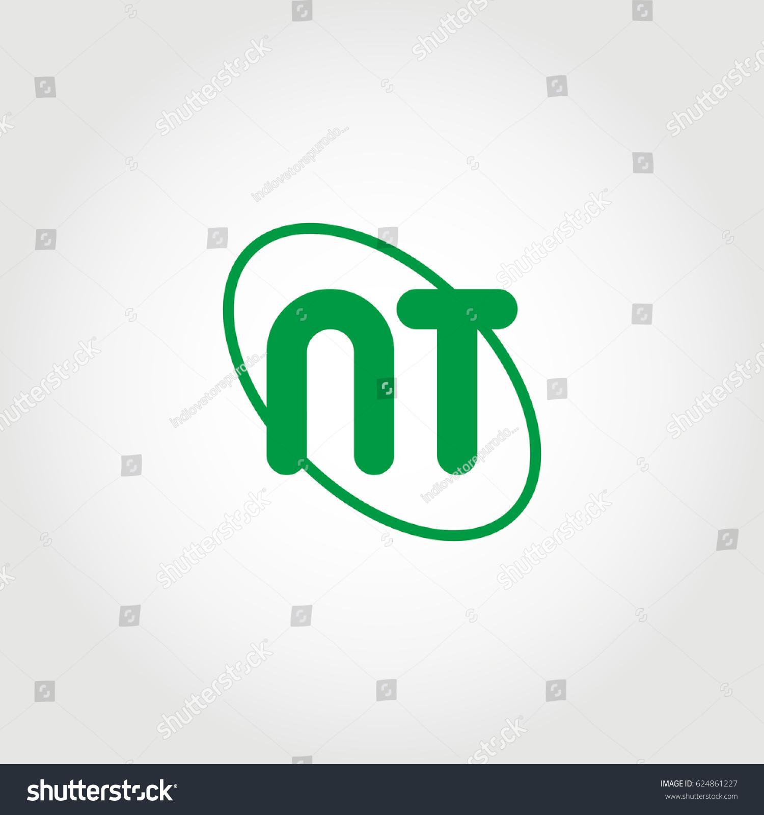 Initial Letter Nt Logo Green On Stock Vector 624861227 Shutterstock