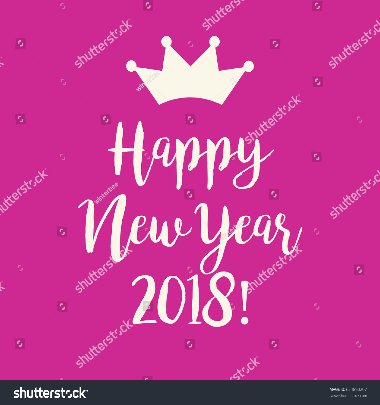 cute simple pink happy new year 2018 greeting card with a crown