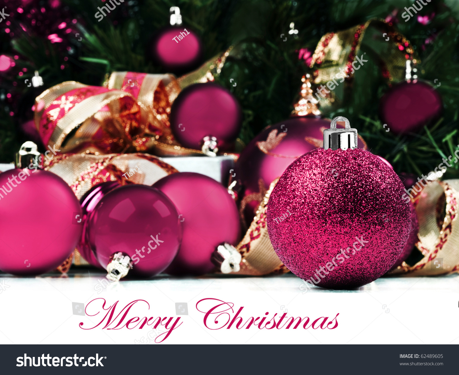 Pink Christmas Decorations Under A Christmas Tree In Low