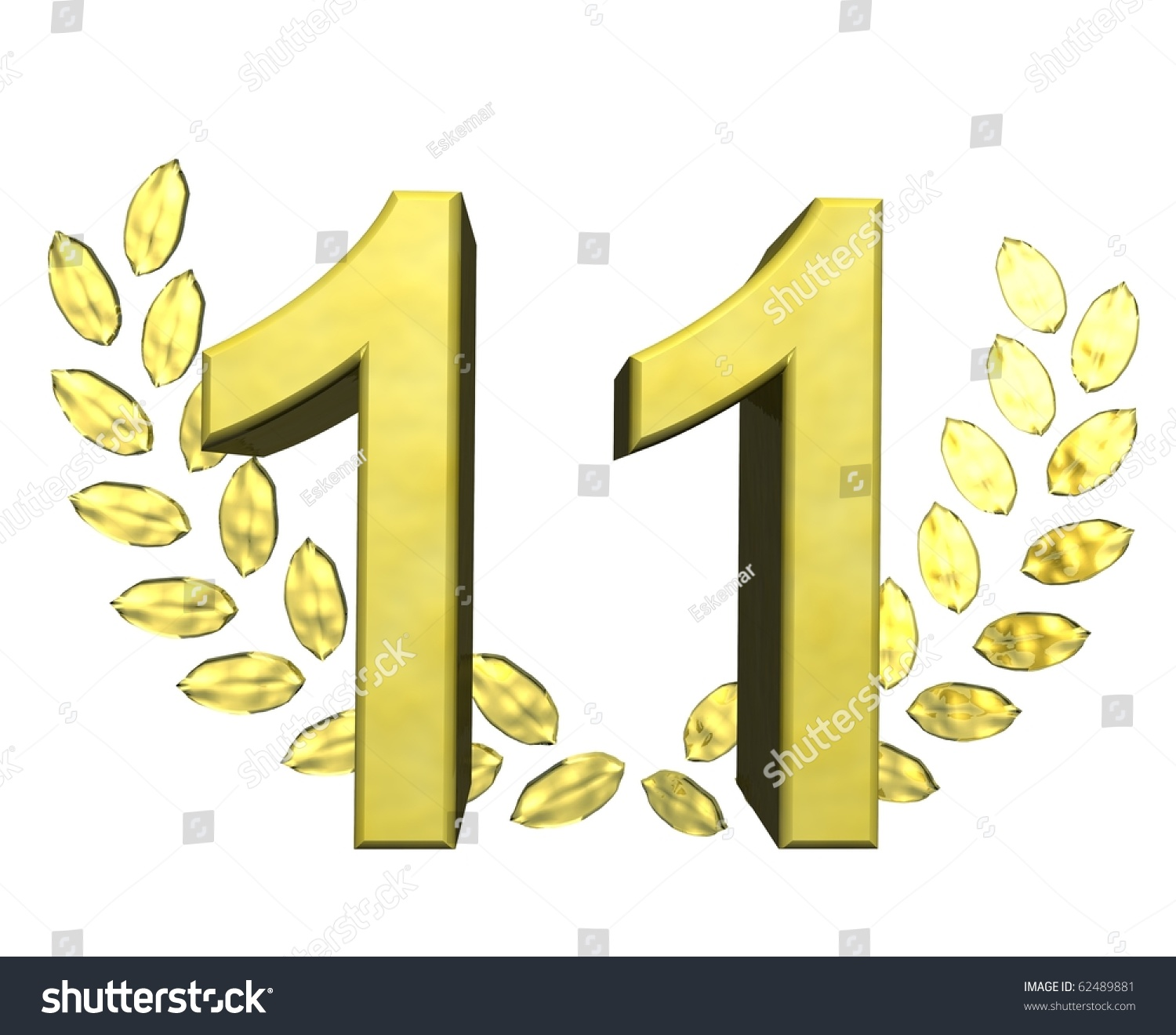 Golden Number Eleven Stock Illustration 62489881 ... |Number Eleven Clipart