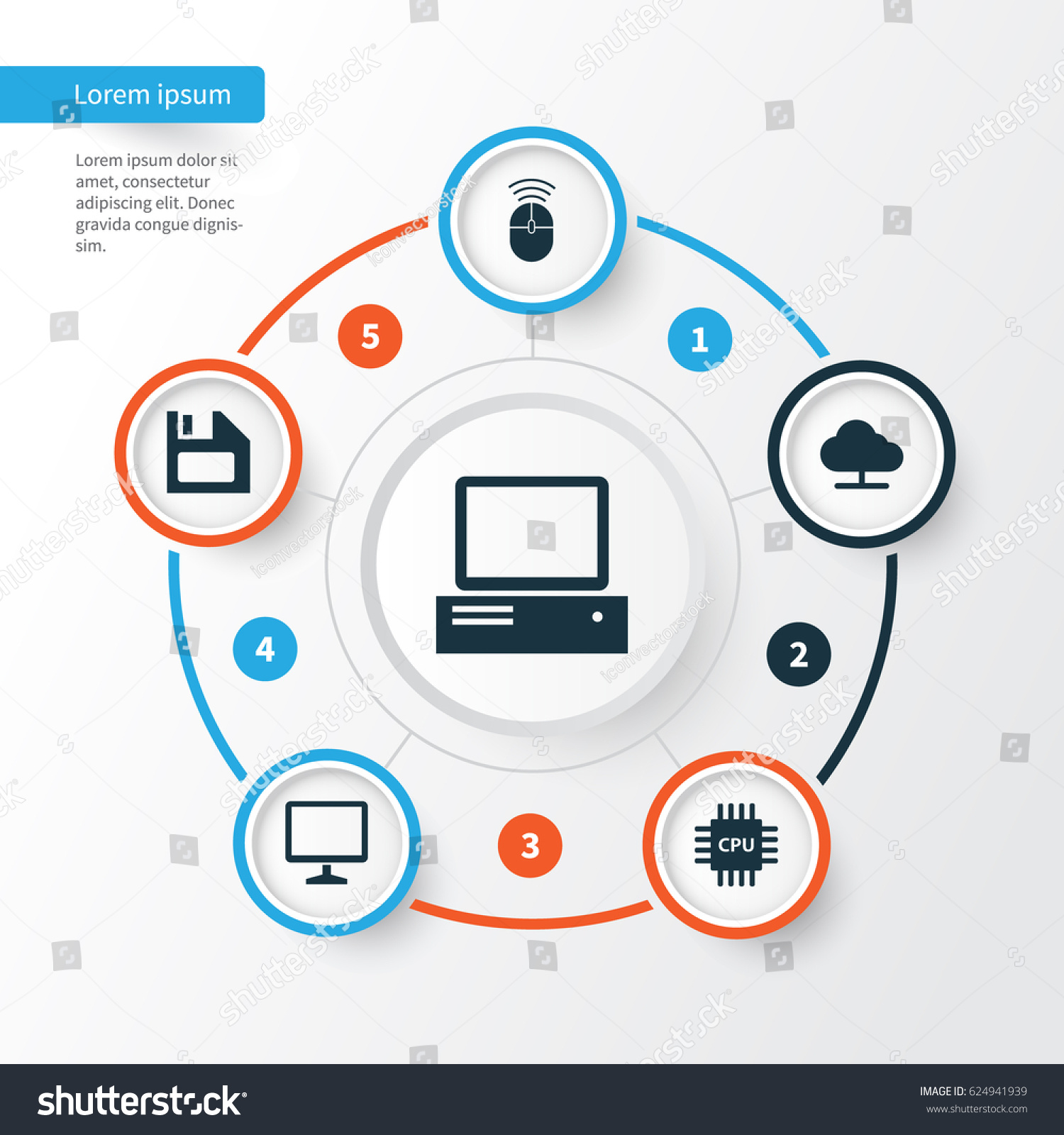 Computer Icons Set Collection Mouse Stock Vector Royalty Diagram Part In This Of Monitor Diskette And Other Elements