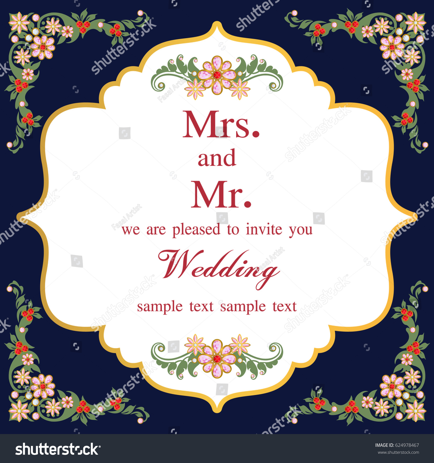 Vintage Invitation Wedding Cards Template Frame Stock Vector ...