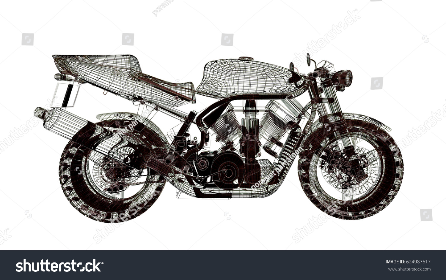Motorcycle Model Body Structure Wire Model Stock Illustration ...