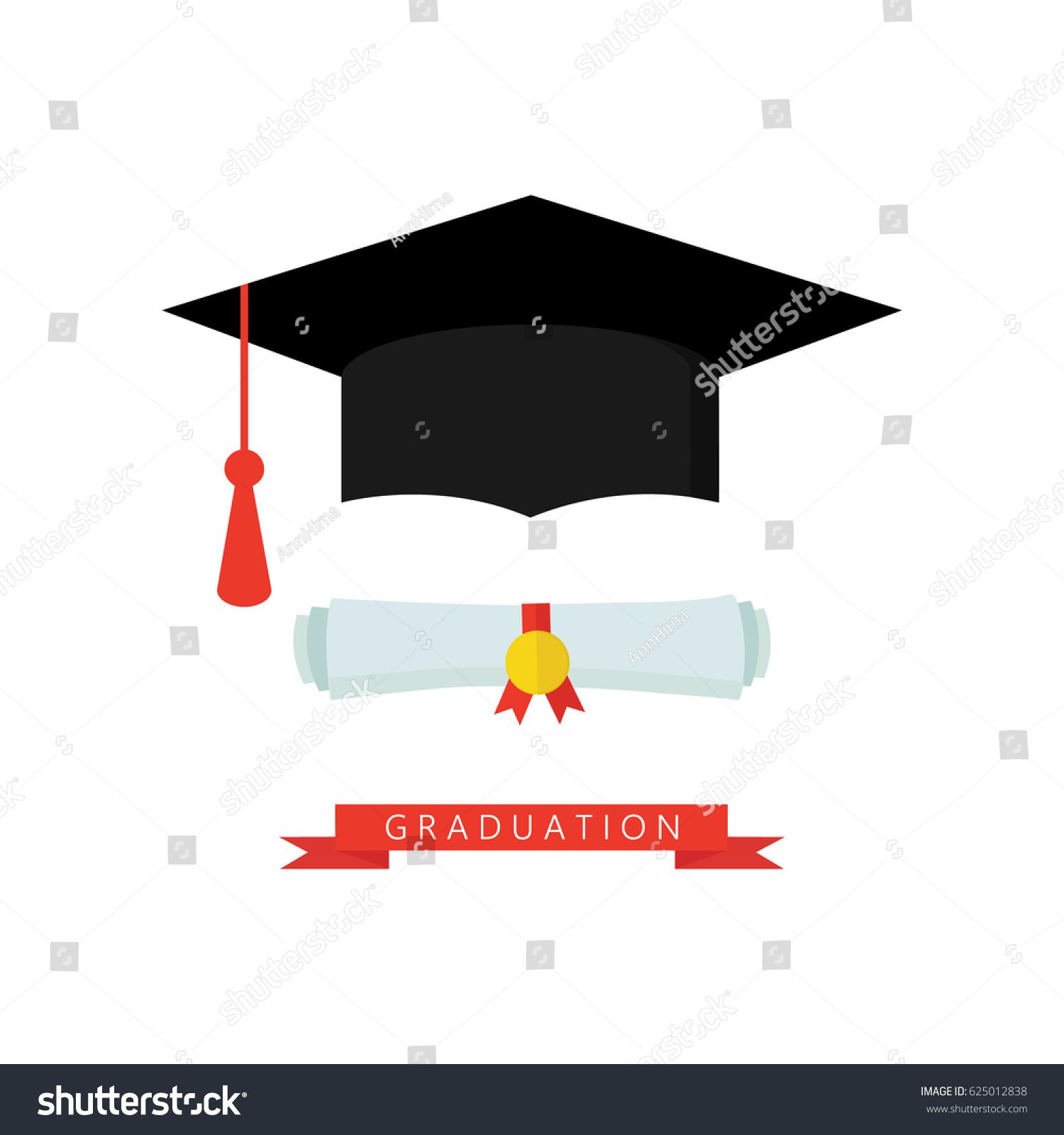 Graduation Cap Diploma Rolled Scroll Flat Stock-Vektorgrafik ...