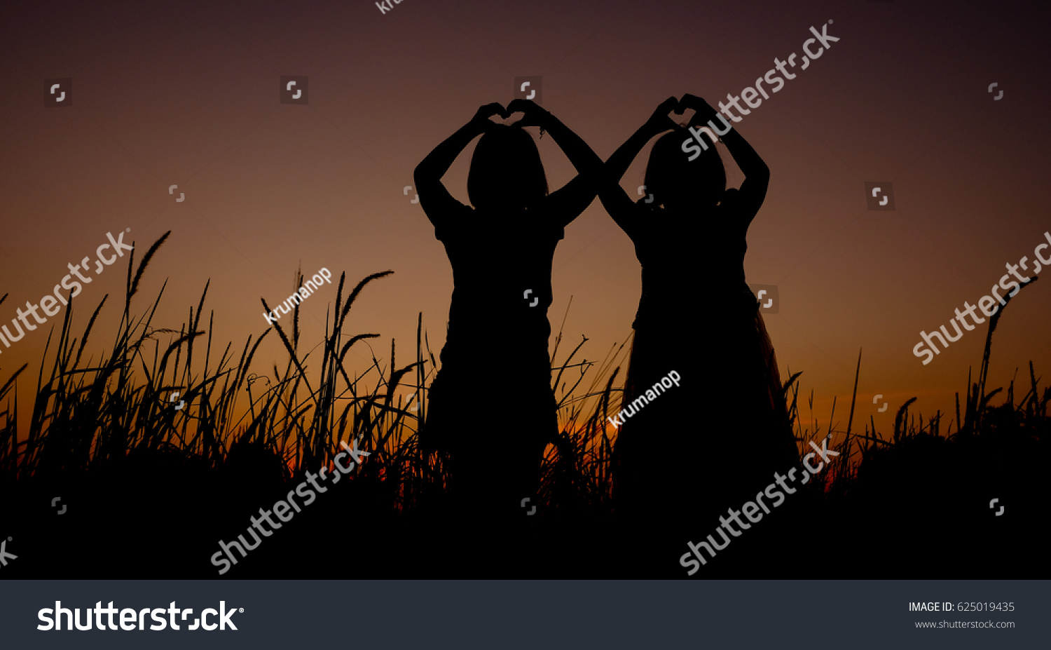 Royalty Free Black Silhouette Of Two Asian Little 625019435 Stock