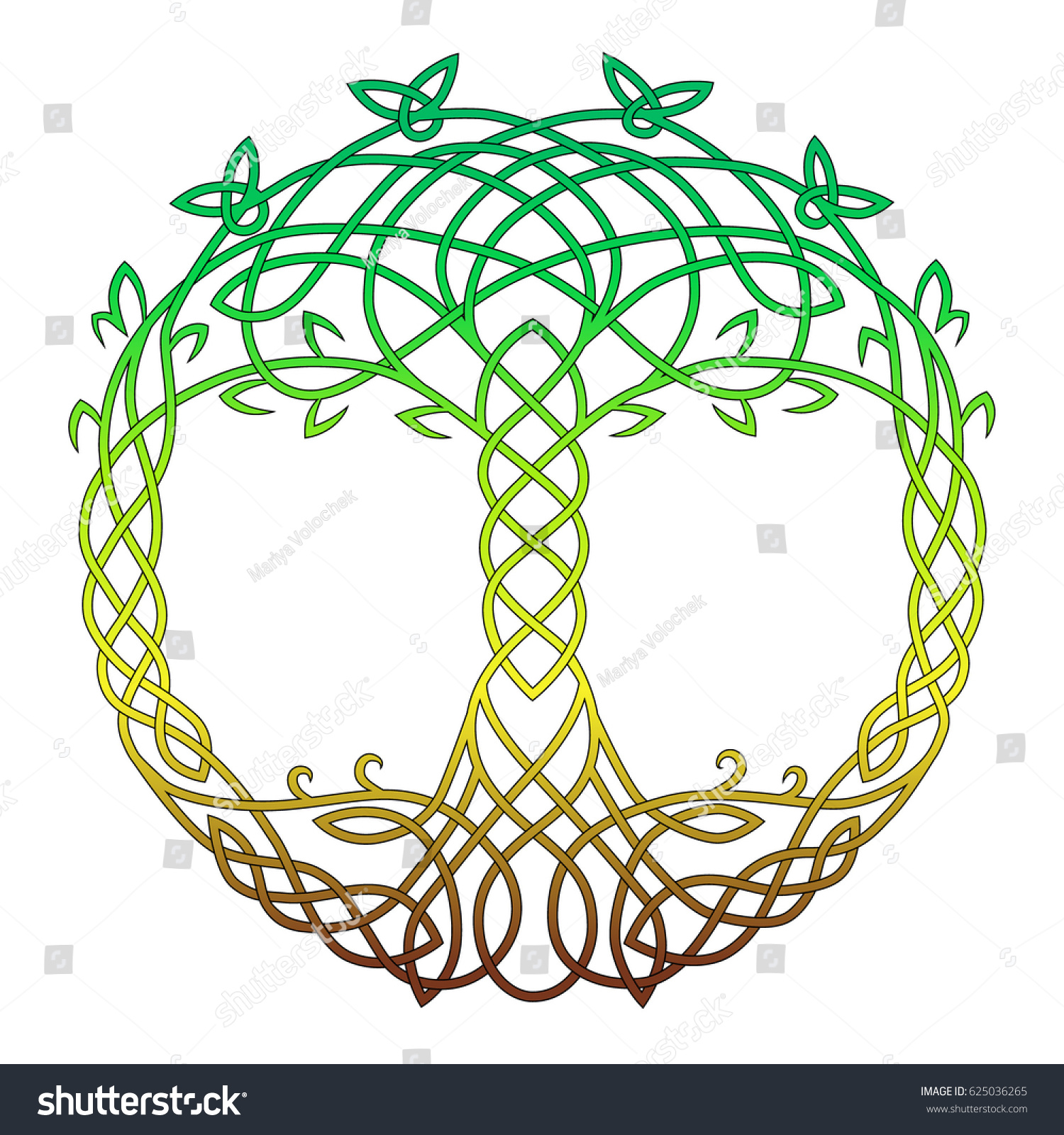 Celtic Round Drawing Symbol Tree Life Stock Vector (Royalty Free ...