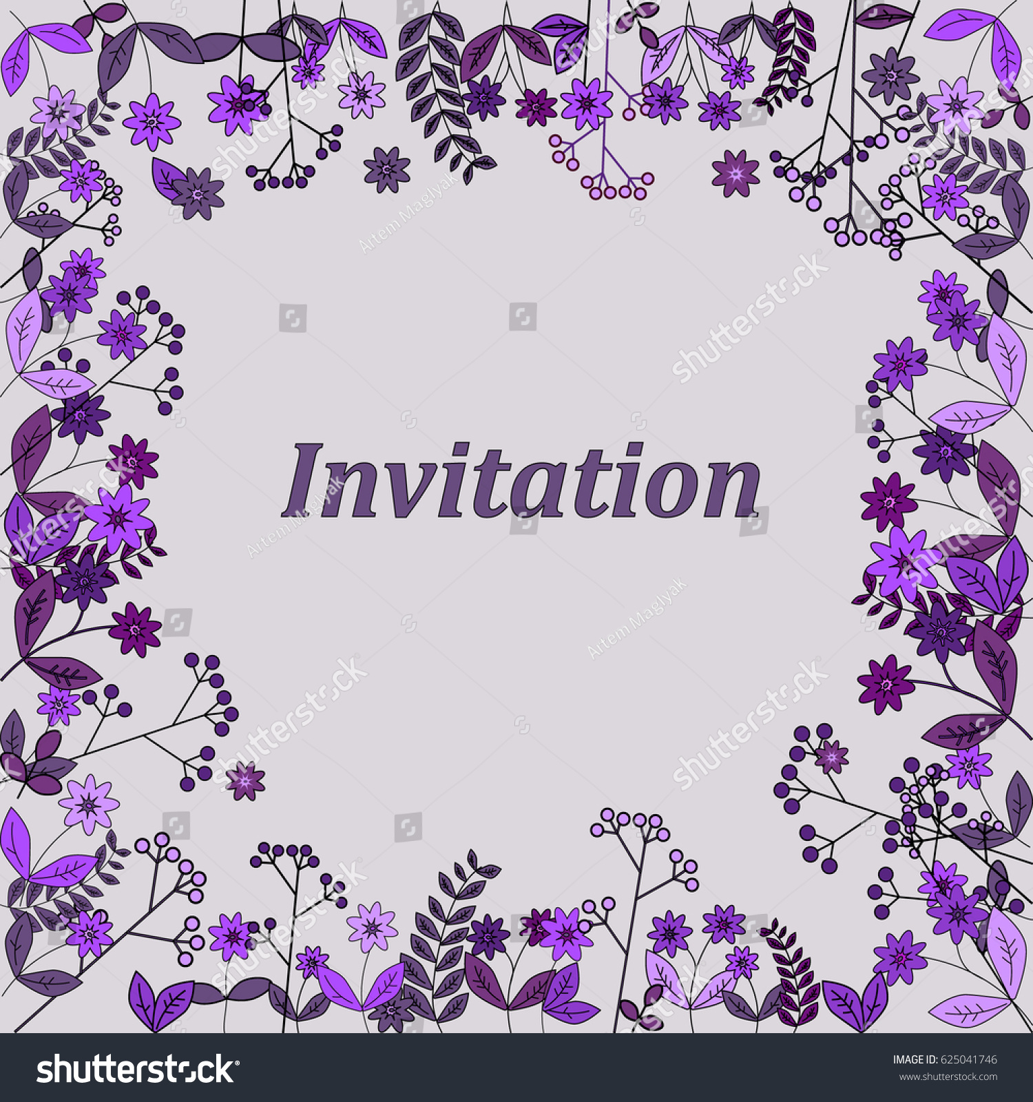 Invitation card with flowers for wedding background cute purple invitation card with flowers for wedding background cute purple flowers frame ez canvas izmirmasajfo